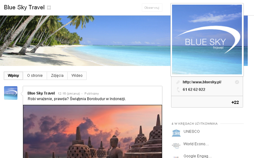 Blue Sky Travel na Google Plus