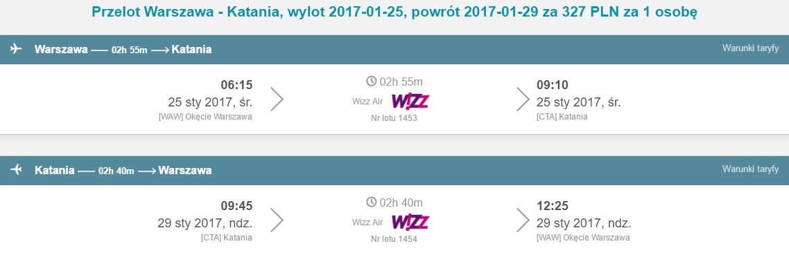 WAW-CTA-WAW 258pln
