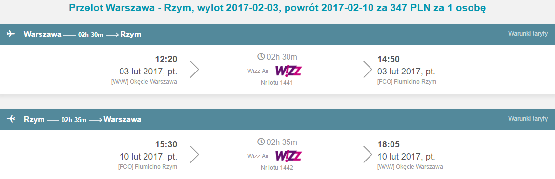 WAW-FCO-WAW 278